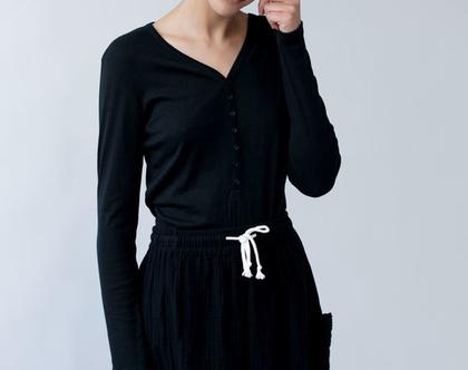 חצאית מקסי שחורה עם כיסים, חצאית עם שרוך, חצאית שחורה, חצאית כחולה, חצאית ארוכה