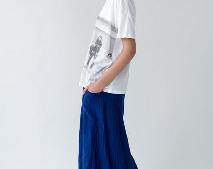 חצאית מקסי כחולה עם כיסים, חצאית עם שרוך, חצאית שחורה, חצאית כחולה, חצאית ארוכה