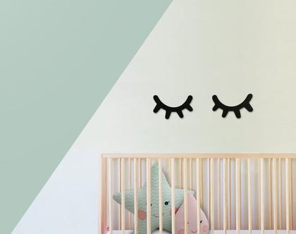 מדבקת קיר עיניים עצומות במספר גדלים | מדבקות לחדרי בנות | מדבקות לחדרי תינוקות | מדבקות לחדרי ילדים | מדבקות ויניל | מדבקות לחדר תינוקות