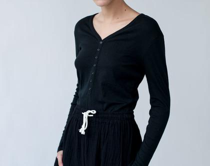 טישרט ריב בצבעים, חולצה עם שרוולים ארוכים, טישרט לאביב, חולצה צמודה, חולצה שחורה