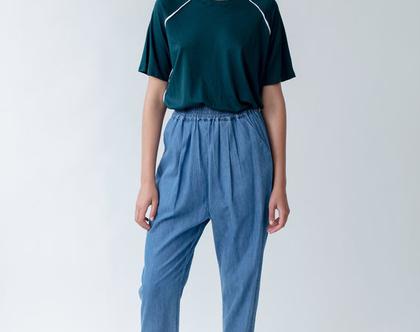 מכנסי מאיה קיץ דקים, מכנסי כותנה, מכנסיים כחולים, מכנסיים חומים, מכנסיים יפים, מכנסיים נוחים, מכנסיים עם גומי