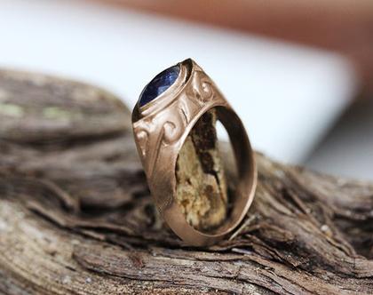 טבעת זהב אדום, טבעת ספיר, טבעת אירוסין מיוחדת, טבעת וינטאג', טבעת אירוסין מעוצבת, מתנה לאישה, טבעת זהב אבן חן, טבעת ספיר כחול, טבעת עתיקה