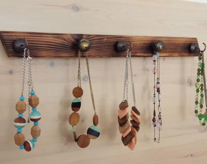 מתלה לתכשיטים מעץ ממוחזר