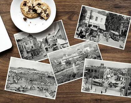 סט 5 גלויות של צילומי רחובות תל-אביב בשחור לבן