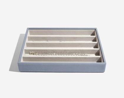 מגש מחולק, תוספת לקופסת התכשיטים המודולרית גודל קלאסיק - כחול עשן