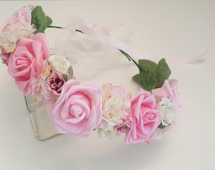 זר לראש | כתר פרחי משי | זר פרחים | עיטור ראש| חגיגה| יום הולדת| בת מצווש |לבן ורוד| מלאכותי | ורדים | זר ראש | שושבינה | מסיבת רווקות |