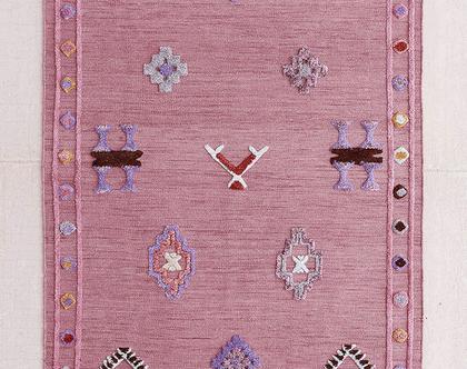 שטיח מרוקאי ורוד מעושן תלת מימדי