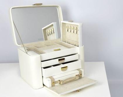 קופסאת תכשיטים מדהימה מעור, גודל אקסטרה לארג', עם מזוודה נשלפת לנסיעות