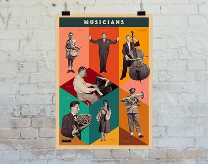 פוסטר: קולאז' מוסיקאים וינטג', צילום שחור לבן