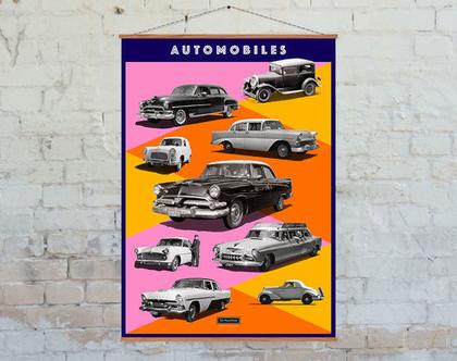 פוסטר: קולאז' מכוניות וינטג' שחור לבן