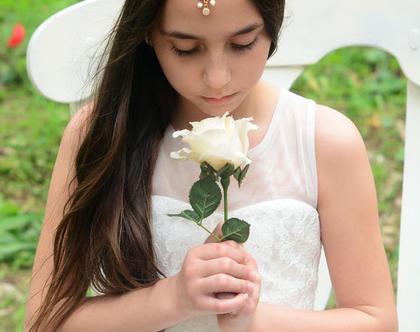 שמלת בת מצווה לבנה קלאסית