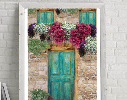 פוסטר מעוצב לבית - Door to happiness - עיצוב מקורי - הדפס למסגור  הדפס לעיצוב הבית והמשרד