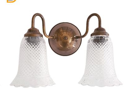(רן)מנורת קיר 2 זרועות עם זכוכיות וניטאג -מנורת קיר-מנורת קיר לסלון-מנורת קיר זוגית