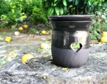 מבער מקרמיקה   מבער שמנים שחור   מבער לריח טוב   מתנה מקורית   אווירה לבית   עיצוב הבית   בישום לבית   מבער בצבע אפור
