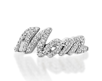 """טבעת יהלומים """"אמא"""" MOM , טבעת יהלומים אמא, טבעת יהלומים, טבעת מיוחדת, טבעת יהלומים לאישה, טבעת מתנה לאמא, טבעת זהב ויהלומים, טבעת זהב לבן"""