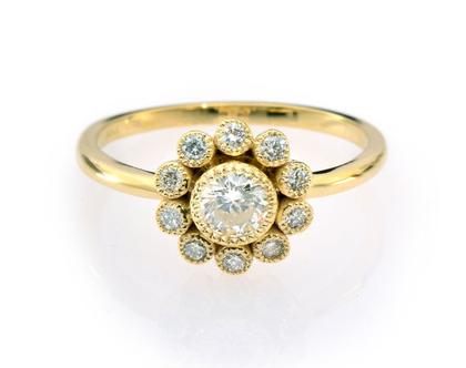 טבעת יהלומים פרח Magnolia, טבעת פרח, טבעת יהלומים, טבעת מיוחדת, טבעת יהלומים לאישה, טבעת מתנה לאישה, טבעת זהב ויהלומים