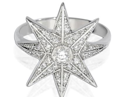 טבעת יהלומים OCTAGON Star, טבעת יהלומים לאישה, טבעת יהלומים, טבעת מיוחדת, טבעת יהלומים לאישה, טבעת מתנה לאישה, טבעת זהב ויהלומים, טבעת כוכב