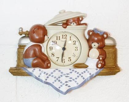 שעון קיר וינטאג׳ גדול לחדר ילדים, שעון בקליט גדול, שעון לחדר תינוק, שעון לחדר ילדים
