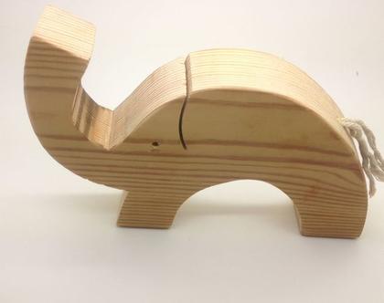 פיל מעץ בעבודת יד תוצרת ישראל