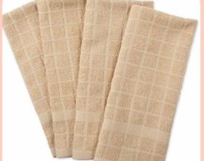 4 מגבות מטבח 100ֵ% כותנה | מגבת ידיים בצבע שמנת