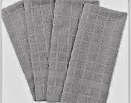 4 מגבות מטבח 100ֵ% כותנה | מגבת ידיים בצבע אפור