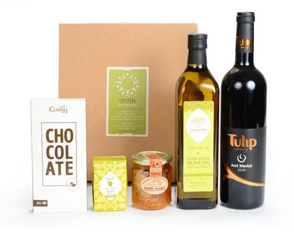 שמן זית דבש יין סבון ושוקולד מריר מארז מתנה איכותי