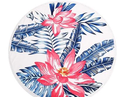 """מגבת חוף עגולה 150 ס""""מ - פרחים"""