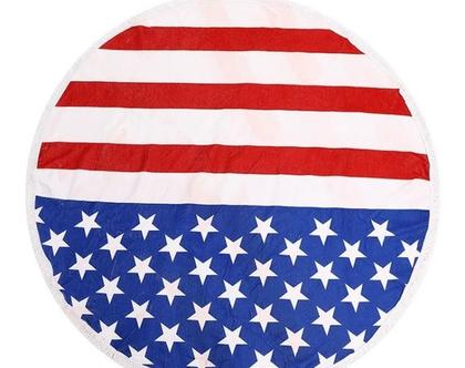 """מגבת חוף עגולה 150 ס""""מ - אמריקה"""