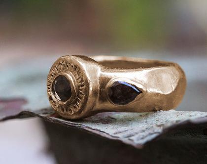 טבעת זהב אדום, טבעת אירוסין יהלומים גולמיים, טבעת זהב אדום משובצת , טבעת זהב עתיק, טבעת אירוסין מיוחדת, טבעת זהב עבודת יד, יהלום גולמי