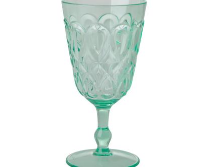 כוס יין אקריליק עיטורים ירוק פסטל | HSGLW-SWPG | RICE DK