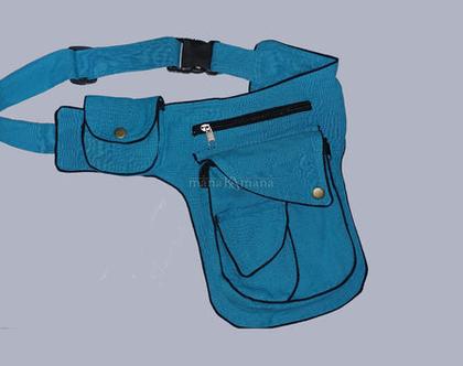 חגורת כיסים- פאוץ כחול של חמישה כיסים