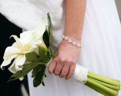 צמיד פנינים וקריסטלים לכלה , תכשיטים לחתונה , תכשיטי פנינים , תכשיטים מעוצבים