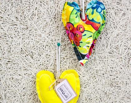 לב תפור הדפס בד צבעוני