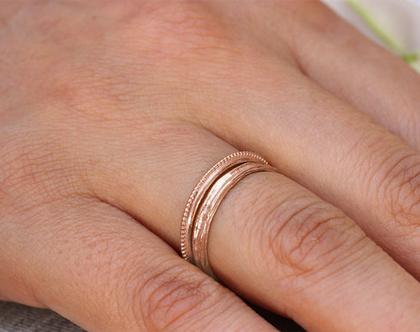 סט טבעות זהב אדום, סט טבעות נישואין, סט טבעות לאישה, טבעת נישואין לגבר ולאישה, טבעת נישואין דקה, טבעת נישואין עדינה