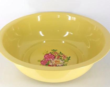 (ברון 2) קערת אמייל עמוקה מעוטרת בפרחים-אקססוריז למטבח-קערת פיירות-קערה לעיצוב-אביזרים לעיצוב