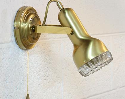 מנורת קיר וינטאג׳ זהובה, מנורת פליז, מנורת קיר בזהב