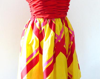 שמלת טפטה של המעצב BILL BLASS | שמלת וינטג' מעוצבת אדום צהוב | שמלת כתפיות לערב | שמלה קצרה