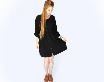 שמלת כפתורים בוהו שחורה