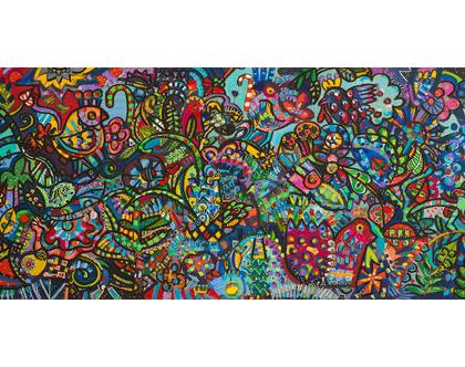 ציור גדול לסלון של האמנית ענבר רייך,הדפס משולב עבודת צבע, אומנות ישראלית מקורית. ציור צבעוני לבית, שם העבודה ארץ רחוקה