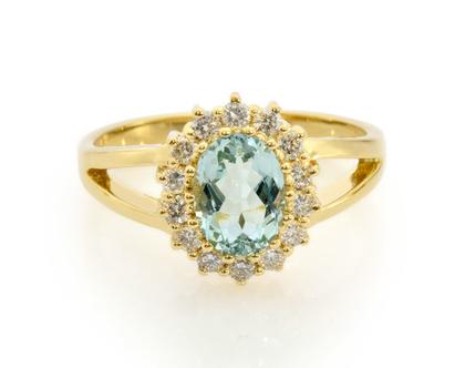 טבעת יהלומים עם אקוומרין,טבעת יהלומים ואקוומרין, טבעת יהלומים, טבעת יהלומים ואבן חן, טבעת יהלומים לאישה, טבעת מתנה לאישה, טבעת זהב ויהלומים
