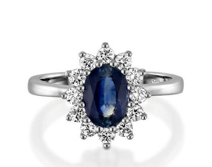 טבעת ספיר ויהלומים,טבעת דיאנה יהלומים, טבעת יהלומים, טבעת יהלומים ואבן חן, טבעת ספיר כחול, טבעת מתנה לאישה, טבעת ליום נישואים, טבעת מעוצבת