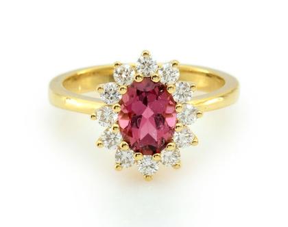 טבעת טורמלין ויהלומים,טבעת דיאנה יהלומים, טבעת יהלומים, טבעת יהלומים ואבן חן, טבעת טורמלין, טבעת מתנה לאישה, טבעת ליום נישואים, טבעת מעוצבת