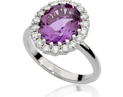 טבעת יהלומים ואבן חן אמטיסט,טבעת יהלומים אמטיסט, טבעת גדולה, טבעת יהלומים ואבן חן, טבעת יהלומים לאישה, טבעת מתנה לאישה, טבעת מעוצבת