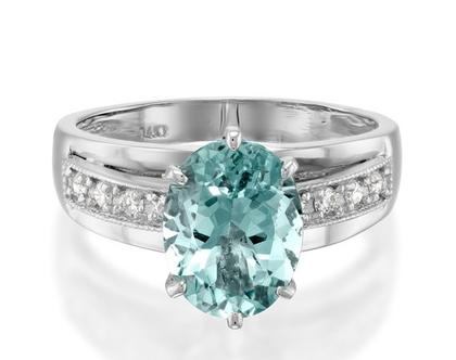 טבעת אקוואמרין ויהלומים,טבעת אקוומרין, טבעת יהלומים, טבעת יהלומים ואבן חן, טבעת יהלומים לאישה, טבעת מתנה לאישה, טבעת יהלומים לאירוע
