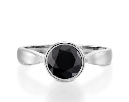 טבעת יהלום שחור בסגנון וינטג, טבעת יהלום לאישה, טבעת יהלום שחור, טבעת יהלום זהב לבן, טבעת יהלום מעוצבת, טבעת יהלום סוליטר