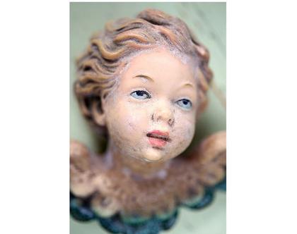 גלויה מצולמת. מלאך. מלאך עתיק. פרינט מקורי .צילומים מקוריים. כרטיס ברכה לחורף. הדפס מקורי. פריטי וינטאג'.