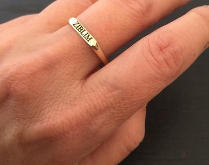 טבעת זהב 14K עם חריטה - טבעות זהב אמיתי - טבעת שם חריטה שחורה - מתנה לאישה