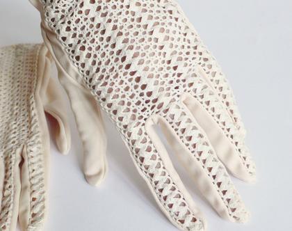 כפפות תחרה פיפטיז לאישה 30% הנחה | כפפות מד מן וינטג' משנות ה-50 עבודת יד