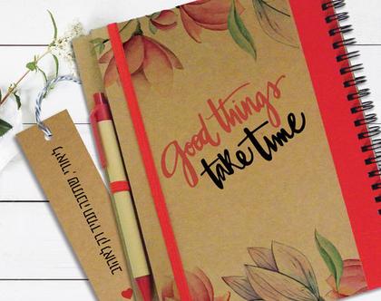 מחברת עם סימניה אישית | מחברת מעוצבת | Good Things Take Time | מחברת אישית מתנה | מחברת השראה | יומן מחשבות טובות | מחברת עם עט