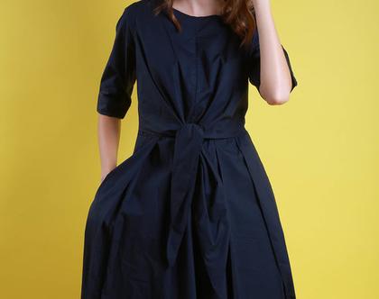 שמלת קשירה שיקית כחול כהה